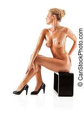若い, 美しい, 裸の女性
