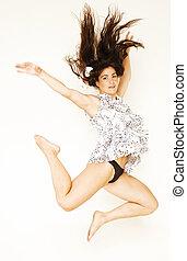 若い, 美しさ, 女, 飛行, 中に, ジャンプ, ∥で∥, 黒髪, 白, 背景, ライフスタイル, 人々, 概念