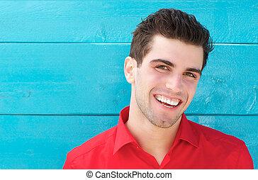 若い, 肖像画, 微笑の人, 横, 幸せ