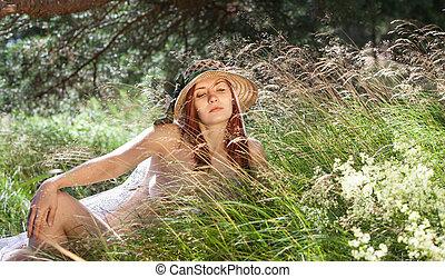 若い, 背景, 自然, 女