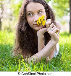 若い, 花束, タンポポ, ティーネージャー, 美しい
