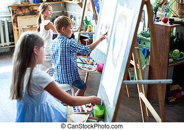 若い, 芸術家, 中に, 芸術クラス