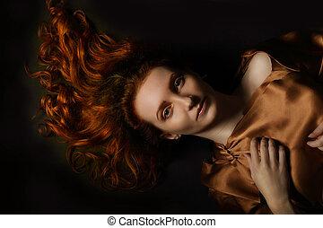若い, 芸術, red-haired, 肖像画, 概念, 成人, 女