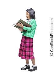 若い, 読書, アジア人, 本, 子供