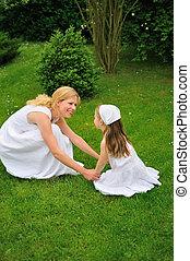 若い, 遊び, 娘, 牧草地, 母