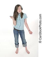 若い, 10代少女, 音楽 を 聞くこと, 2