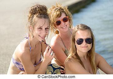 若い, 3, 浜, 女性
