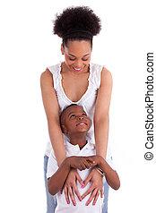 若い, african american, 単一 母, ∥で∥, 彼女, 息子, 隔離された, 白, 背景, -, 黒,...