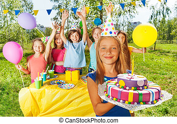 若い, birthday, 保有物, ケーキ, ろうそく, 女の子, 幸せ