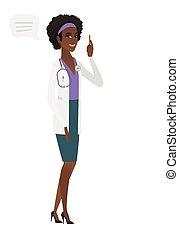若い, bubble., スピーチ, 医者, african-american