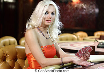若い, europian, 女性, 中に, カジノ