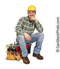 若い, handyman, 座りなさい, 上に, 道具箱