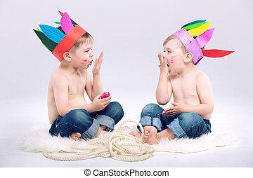 若い, indian, 男の子, ∥で∥, 空想, 帽子