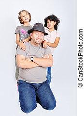 若い, muslim, ∥で∥, 帽子, そして, 2, 娘