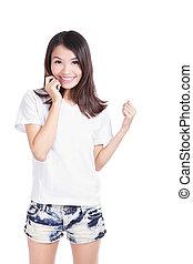 若い, tシャツ, 微笑, 女の子, 白, 幸せ