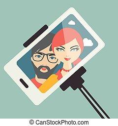 若い1対, selfie, photo.
