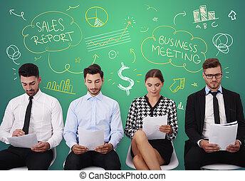 若者達のグループ, の間, ビジネスが会合する