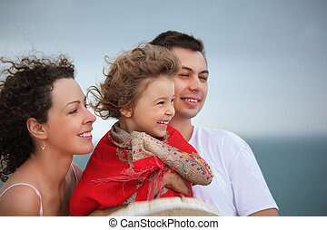 若者, そして, 美しい女性, ∥守る∥, 女の子, から, 風, 上に, 海岸