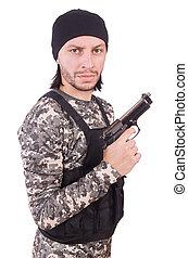 若者, 中に, 軍のユニフォーム, 保有物, 銃, 隔離された, 白