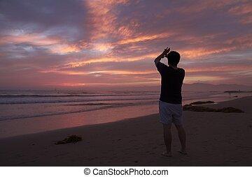 若者, 写真, 浜, 日没