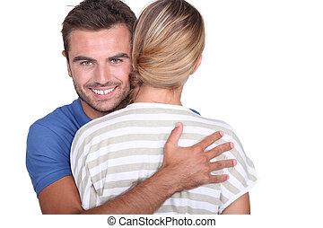 若者, 抱き合う, 彼の, ガールフレンド
