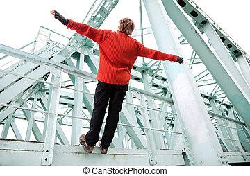 ∥, 若者, 落ちる, から, ∥, 鉄道橋