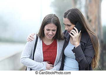 苦しみ, 腹, 呼出し, 痛み, 女の子, 援助, 友人