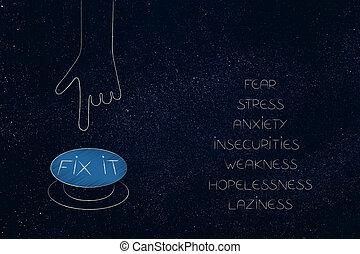 苦境, リスト, 否定的, 次に, の後ろ, それ, 感じ, ボタン, mindset