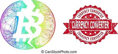 苦脳, シール, 切手, 線である, 壊される, 変換器, スペクトル, 通貨, bitcoin