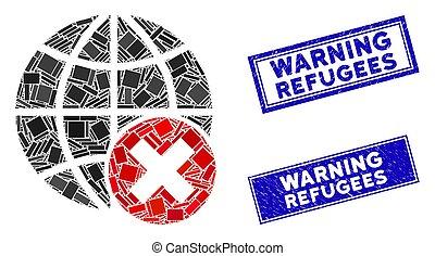 苦脳, スタンプ, refugees, モザイク, 警告, 止まれ, 長方形, globalization