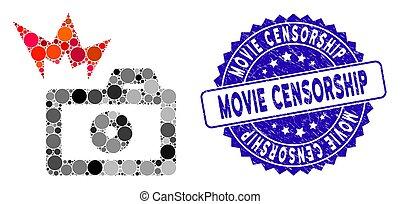 苦脳, フラッシュ, アイコン, カメラ, 切手, コラージュ, 検閲, 映画