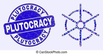 苦脳, モザイク, 切手, 青, 船, シール, 規則, plutocracy, 車輪