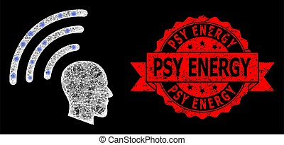 苦脳, psy, シール, 明るい, lightspots, 網, 波, エネルギー, テレパシー, polygonal