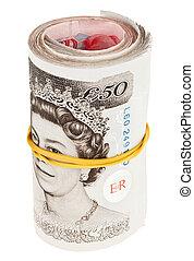 英国货币, 磅, 注意到, 卷, 隔离, 白色, 银行