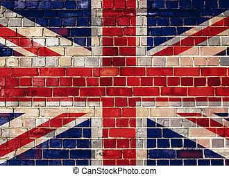 英国, 旗, 在上, a, 砖墙, 背景