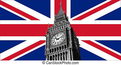 英国, 英国旗, 同时,, 大本钟