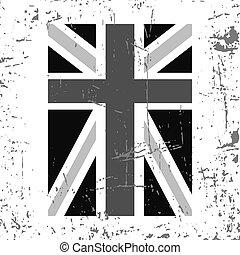 英國旗, 垂直, 灰色