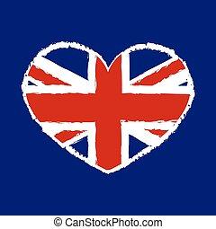 英國旗, t襯衫, 圖像, 心