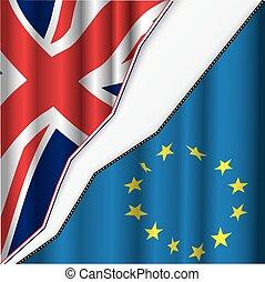 英國, 以及, 歐盟, flag.
