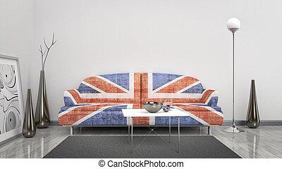 英國, 旗, 沙發