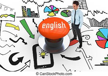 英語, に対して, オレンジ, 押しボタン