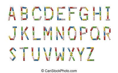 英語, 字母表, 做, 從, 鮮艷, 木制, clothespin
