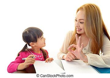 英語, 教師, ∥で∥, 女の子, studying.