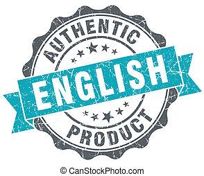 英語, 產品, 藍色, grunge, retro風格, 被隔离, 封印