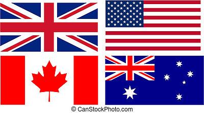 英語, 話すこと, 国, 旗