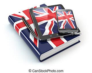 英語, learning., モビール, 装置, smartphone, タブレットの pc, そして, 本