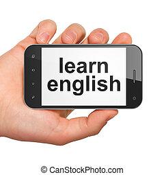 英語, smartphone, 教育, concept:, 学びなさい