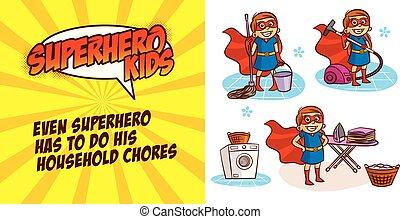 英雄, 特徴, イラスト, ベクトル, 女の子, 極度, 漫画