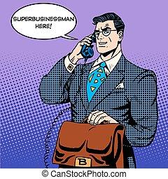 英雄, 金融, 成功, 電話, 話し, ビジネスマン, 極度
