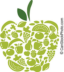 苹果, 带, 水果和蔬菜, 模式, 在怀特上
